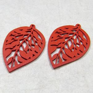 Wooden embellishments, red, 0.2cm x 2.5cm x 3.5cm, 2 Piece, (MZP016)